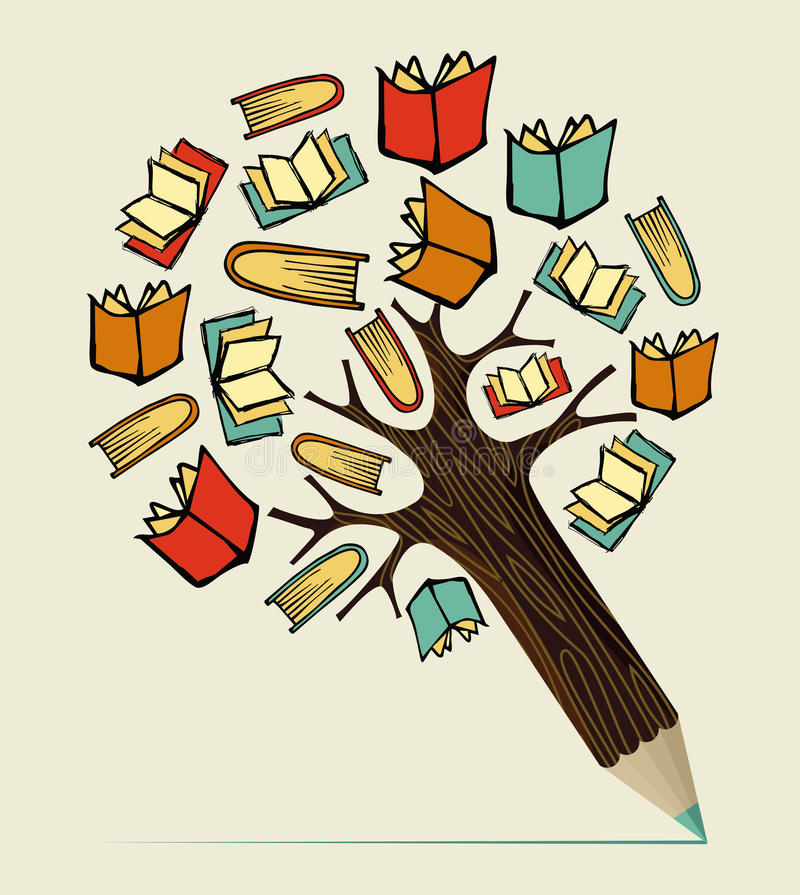 Reading education concept pencil tree stock illustration