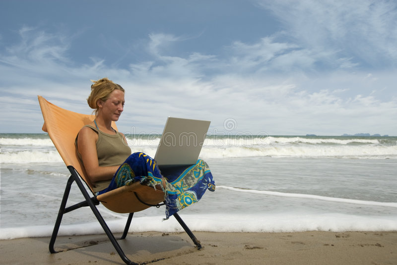 Reading email stock photography
