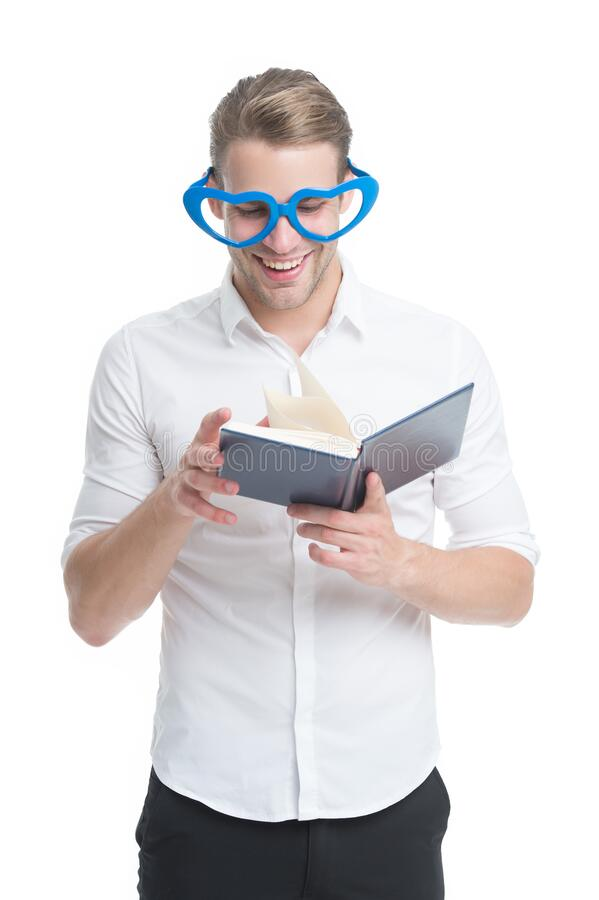 Reading is fun. Happy man read book isolated on white. Funny guy enjoy reading in fancy glasses. Bibliophile. Reading. Story. Using imagination. School and stock photography