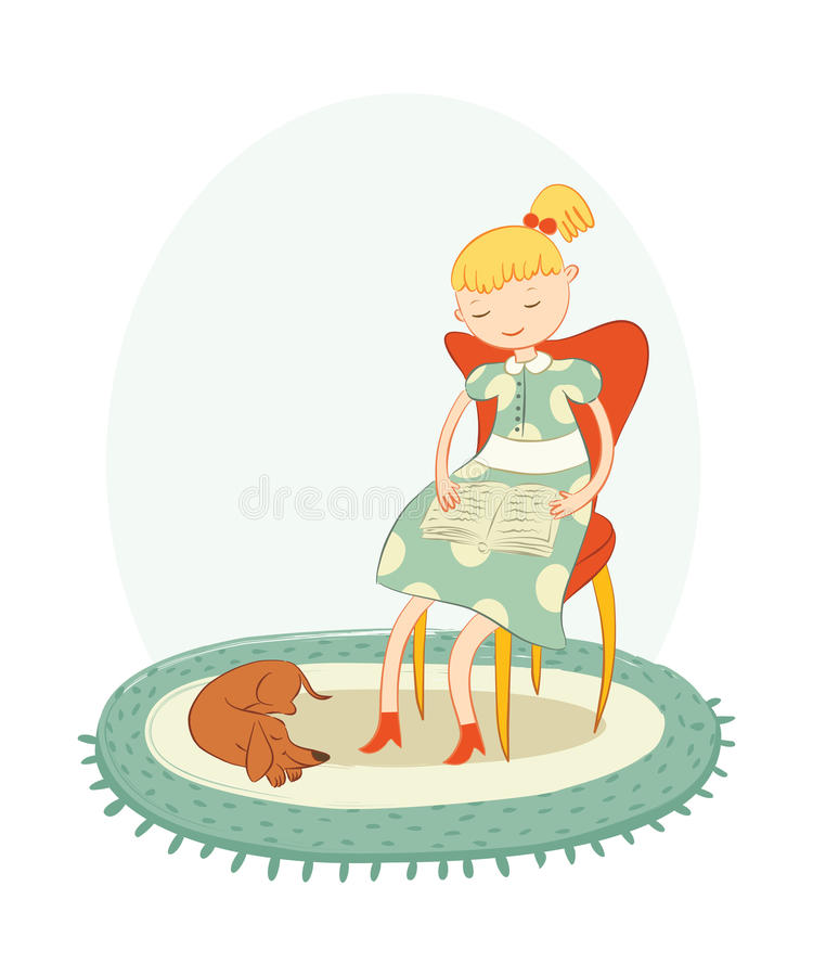 Download Reading girl stock vector. Image of sitting, little, simplicity - 25379643