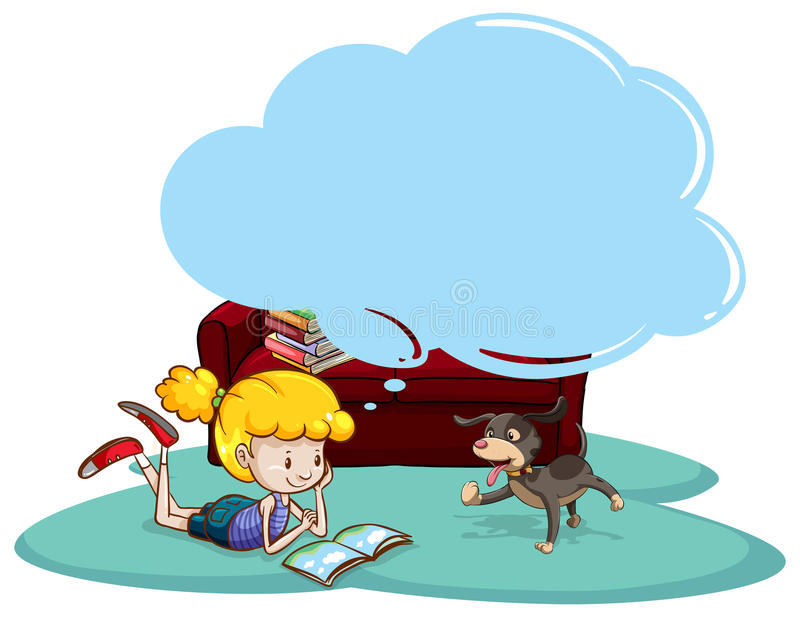 Reading. Girl reading book with thinking bubble royalty free illustration