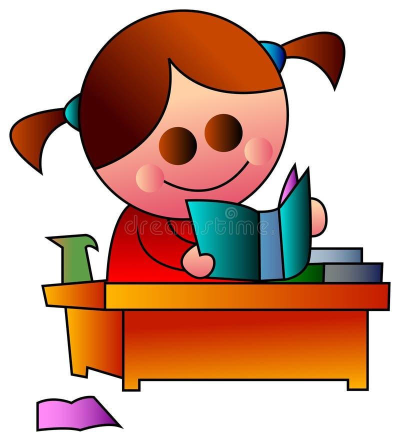 Reading girl stock illustration