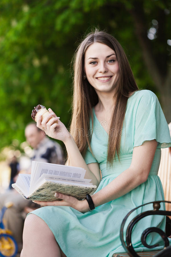 Download Reading Girl With Ice Cream Stock Image - Image: 24658643