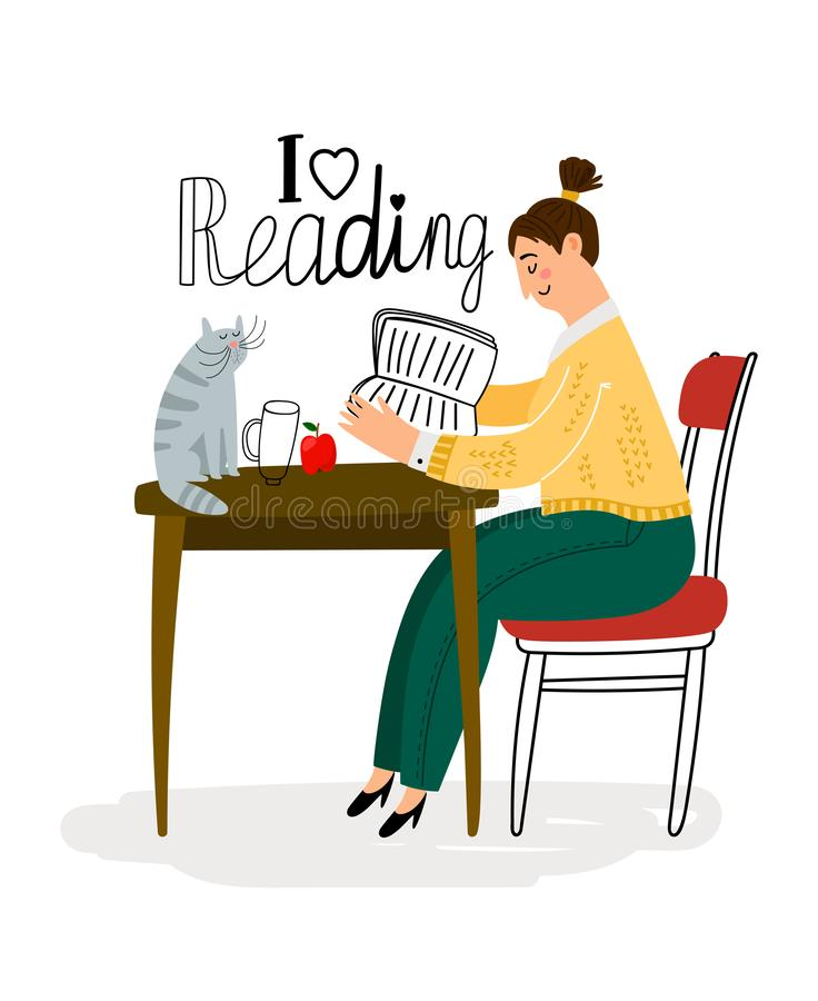 Reading girl icon stock illustration