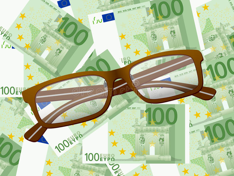 Download Reading Glasses On One Hundred Euro Background Stock Vector - Image: 31624078