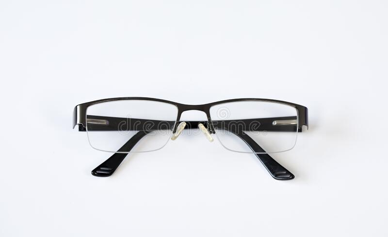 Reading glasses. On a white background stock photo