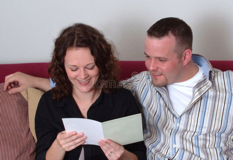 Reading a Greeting Card stock images