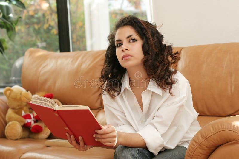 Reading at home royalty free stock photos