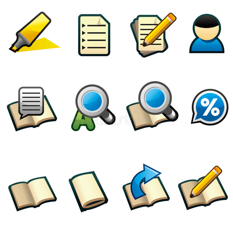 Reading Icons stock illustration