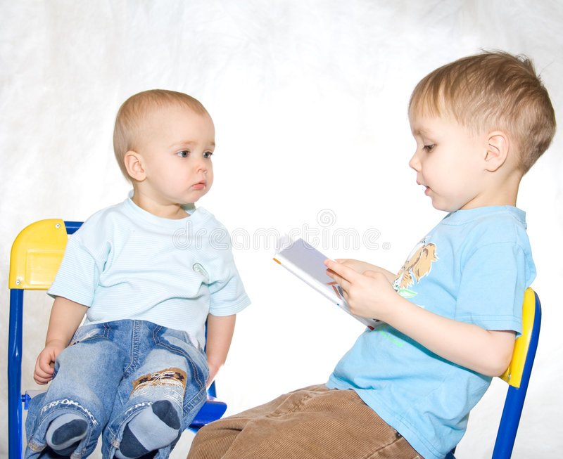 Reading kids royalty free stock photo