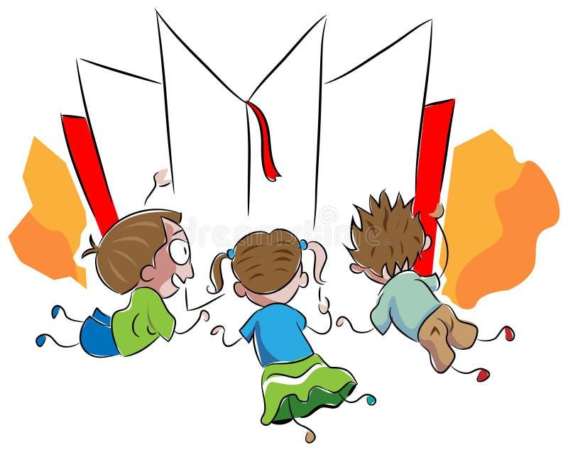 Reading kids. Brush stroke reading kids cartoon on isolated white background vector illustration