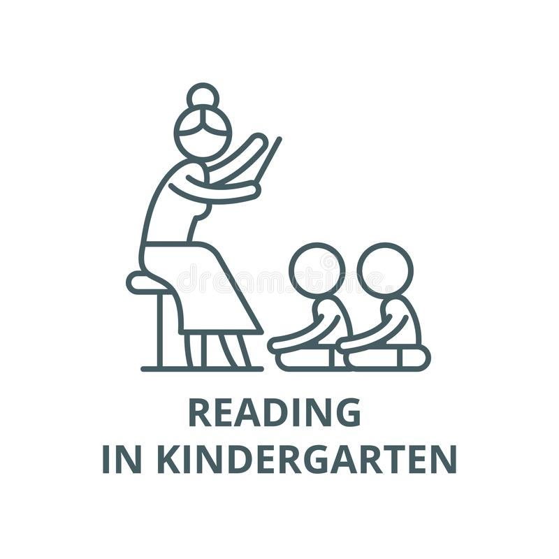 Reading in kindergarten vector line icon, linear concept, outline sign, symbol. Reading in kindergarten vector line icon, outline concept, linear sign stock illustration