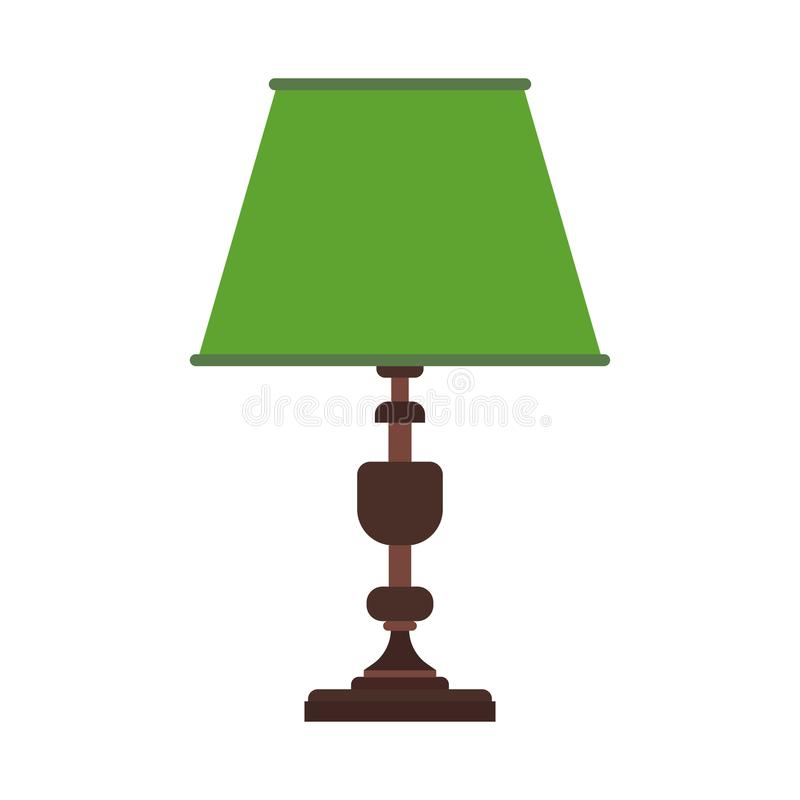 Reading lamp desk vector icon equipment. Light bulb office table furniture bright. Interior cartoon flat simplicity symbol stock illustration
