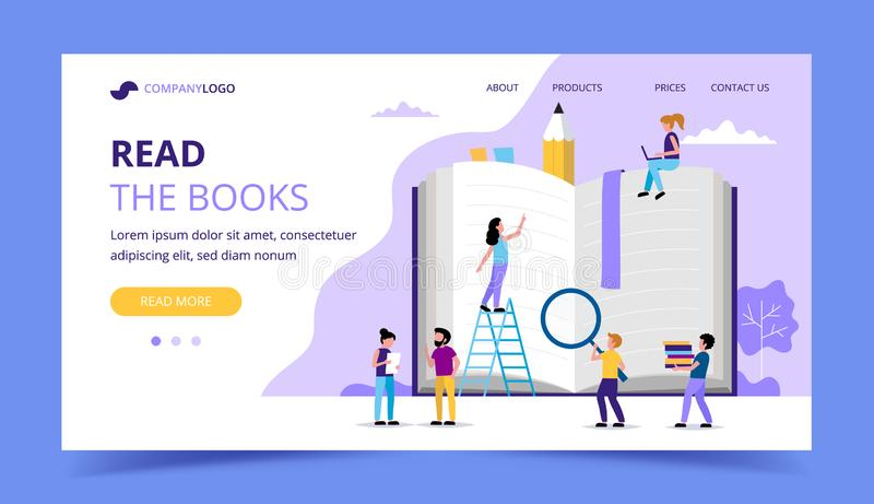 Reading landing page, small people characters around big book. Concept illustration for education, books vector illustration