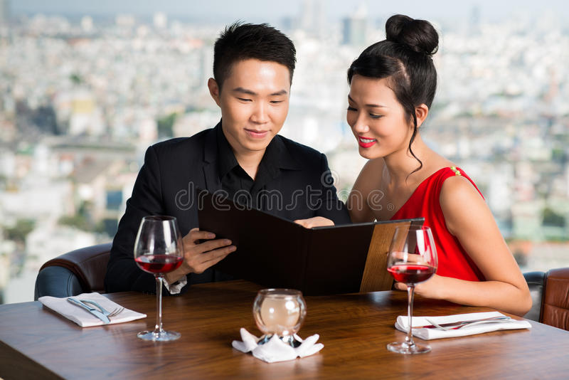 Reading menu royalty free stock image