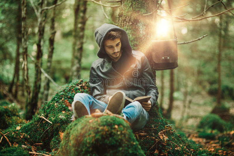 Reading in nature stock photo