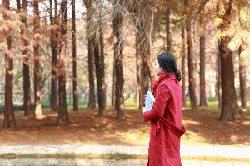 Reading in nature is my hobby, girl Take the book and walk in the middle of the park royalty free stock photography