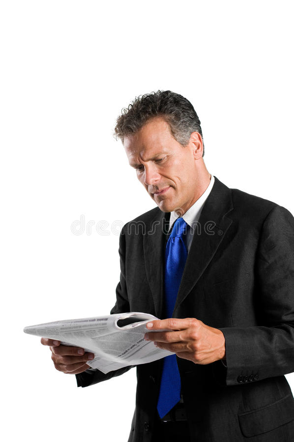 Download Reading news stock photo. Image of businessman, isolated - 10189044