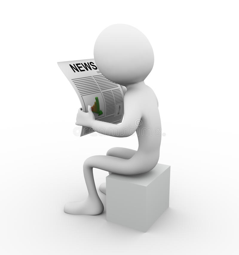 Reading news. 3d man reading news on white background royalty free illustration