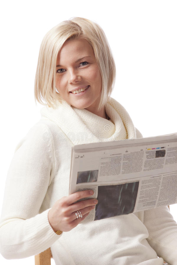 Download Reading the newspaper stock photo. Image of hair, paper - 23721914