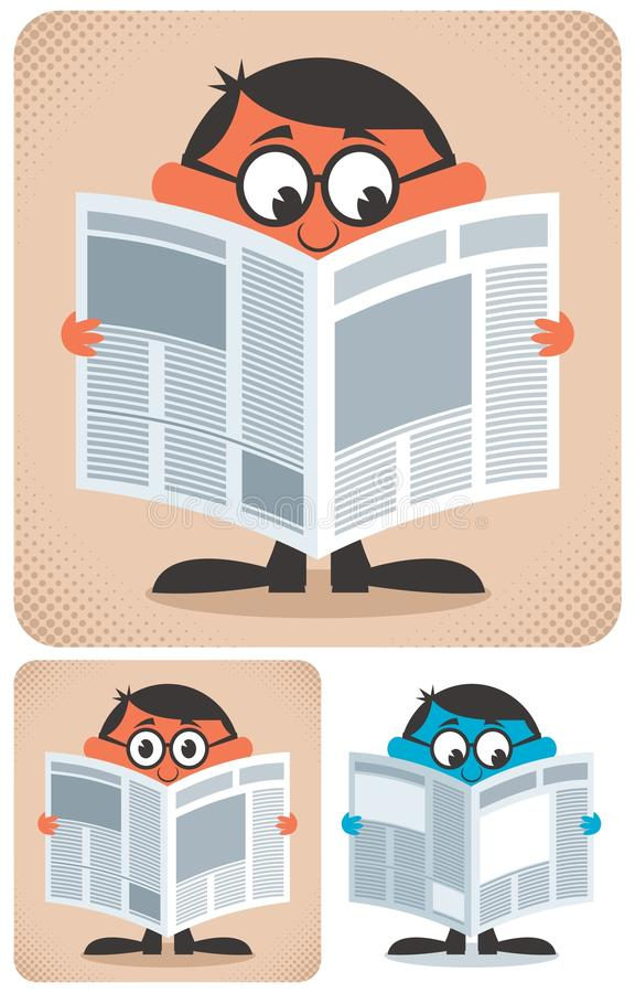 Reading Newspaper stock illustration