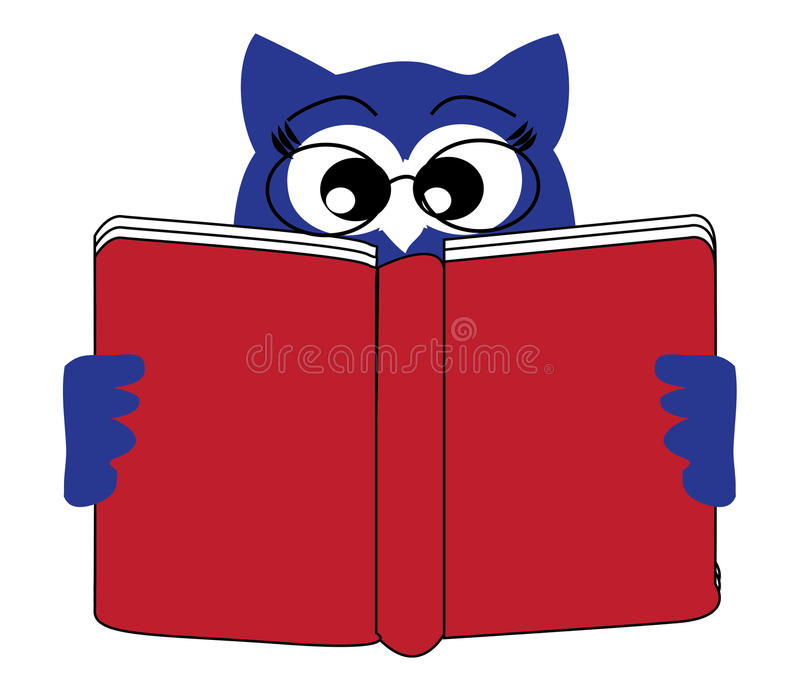Reading owl. Illustration of owl which is reading book stock illustration