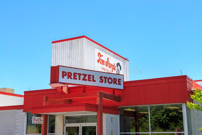 Pretzel Store Sign at Sturgis. Reading, PA, USA - June 14, 2018: The Pretzel Store at Tom Sturgis Pretzels, a commercial pretzel bakery near Shillington, Berks royalty free stock photo