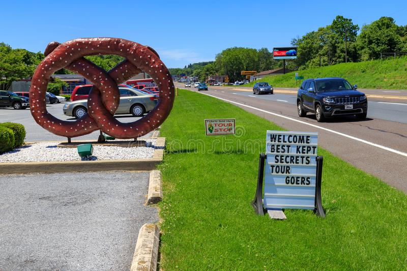 Tom Sturgis Pretzel Signs. Reading, PA, USA - June 14, 2018: The Sign at Tom Sturgis Pretzels, a commercial pretzel bakery near Shillington, Berks County, PA stock photography