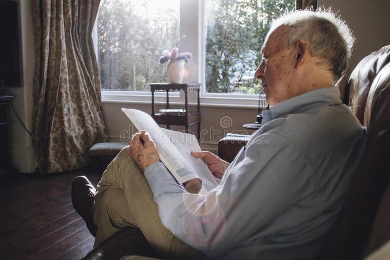 Reading The Paper stock photos