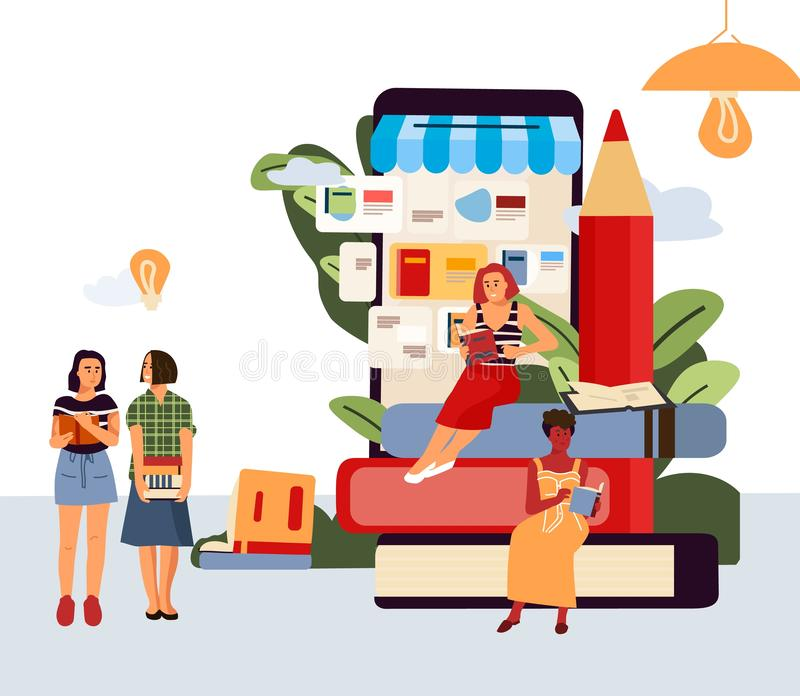 Reading people banner. Cartoon characters sitting and reading in comfortable place. Vector different men and women with stock illustration