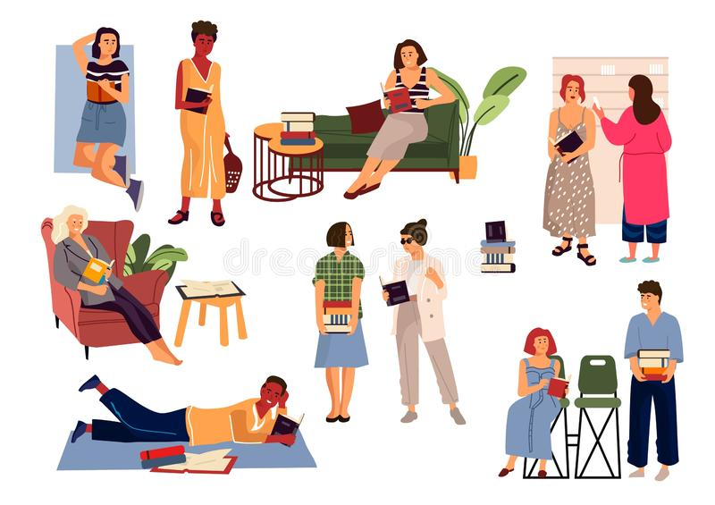 Reading people. Cartoon diverse characters reading at home and studying. Vector young men and women book lovers set stock illustration