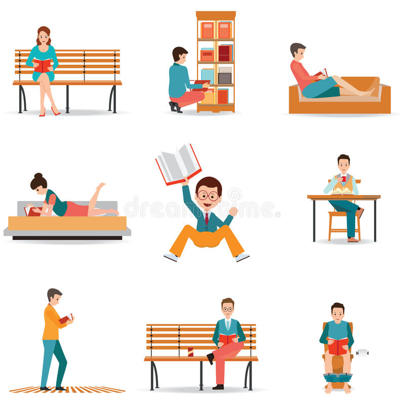 Reading people flat character set with books magazines newspaper. S on white, cartoon charactor vector illustration stock illustration