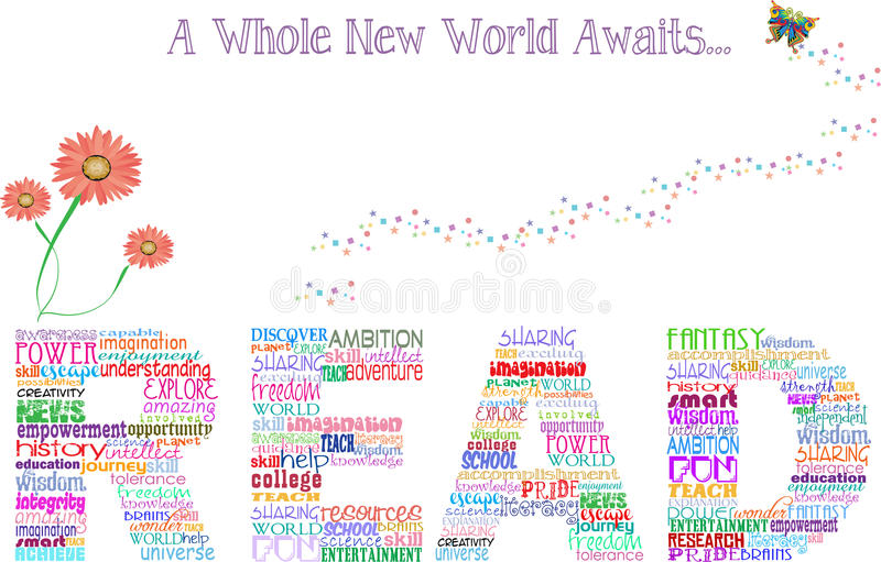 Reading poster. Artistic poster promoting reading education and stating 'A whole new world awaits stock illustration