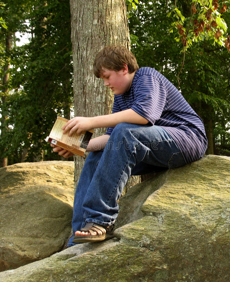 Download Reading on the Rock stock photo. Image of park, teen, study - 19988