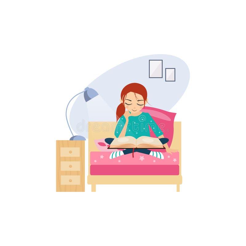 Reading. Daily Routine Activities of Women. Vector Illustration stock illustration