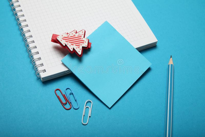 Reading Santa Claus letter. Write christmas wish list.  royalty free stock photo
