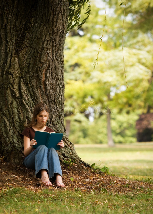 Download Reading in the Shade stock photo. Image of female, person - 3217532