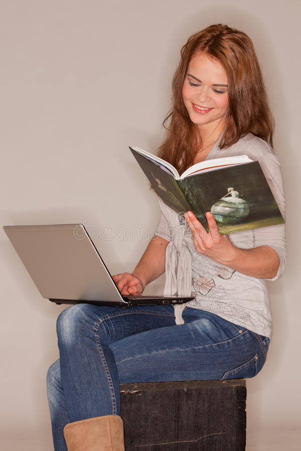 Download Reading and smiling stock image. Image of competent, businesswoman - 18388323