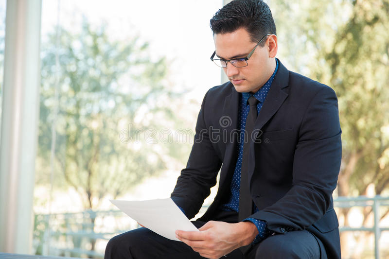 Reading some documents royalty free stock photo