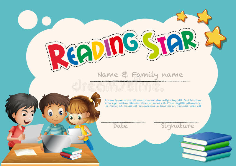 Reading star award template with children background stock vector download reading star award template with children background stock vector illustration of certification award yelopaper Gallery