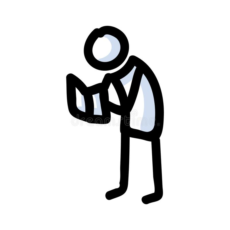 Reading Stick Figure Person Standing With Book. Hand Drawn Isolated Human Doodle icon Motif Element in Flat Color. For learning, royalty free illustration