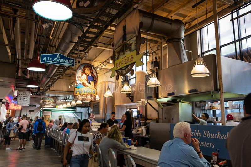 The Reading Terminal Market in Philadelphia, PA. The Reading Terminal Market, located near the Philadelphia Convention Center, occupies the ground floor of the royalty free stock photos