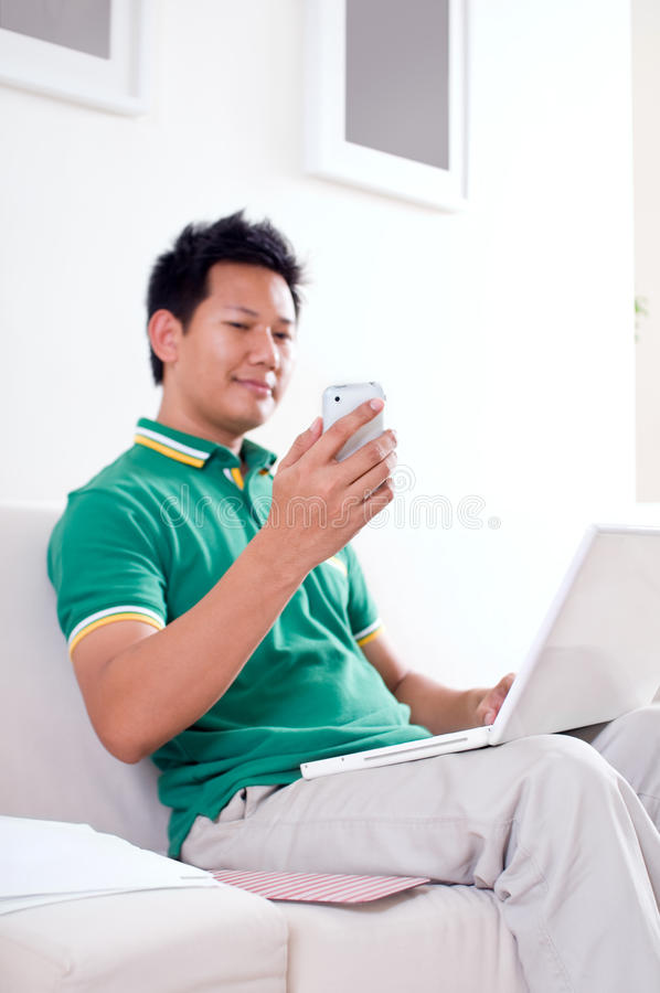 Reading text message stock photography