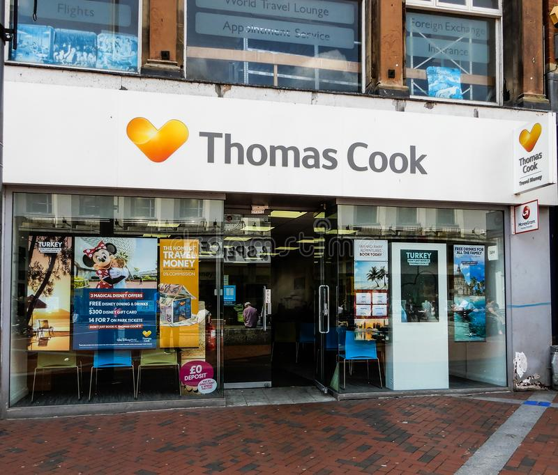 Thomas Cook Frontage. Reading, United Kingdom - May 09 2018: The frontage of Thomas Cook Travel Agent shop in Broad street royalty free stock image