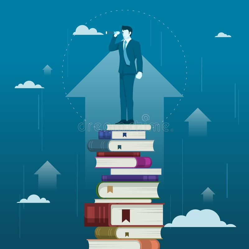 Reading Will iMprove Businessman Business Skill or Knowledge stock illustration