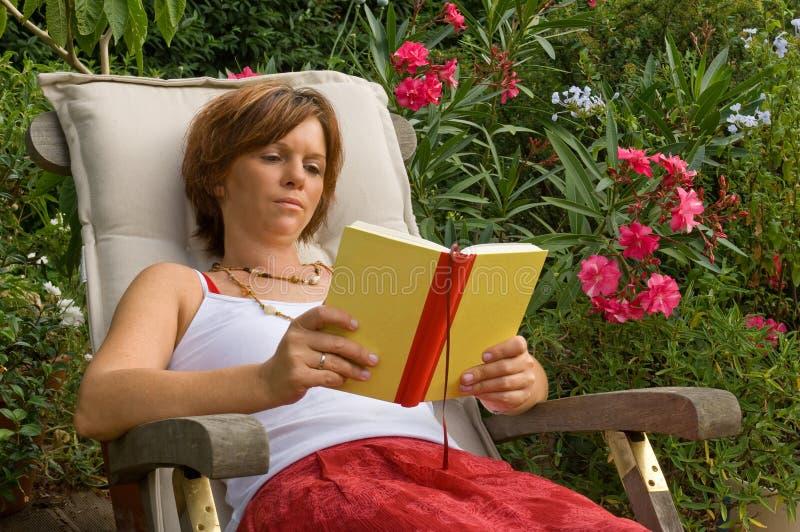 Reading woman stock photo