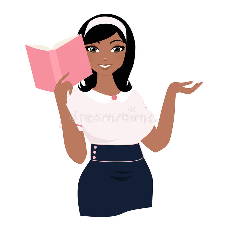 Reading woman. Curvy woman reading a book royalty free illustration