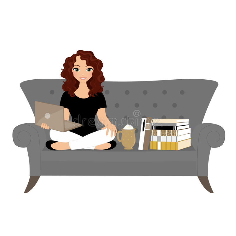 Reading woman. Woman on sofa reading a book vector illustration