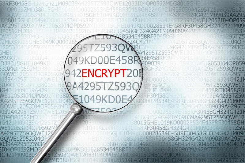 Reading the word encrypt on computer screen with a magnifying gl vector illustration