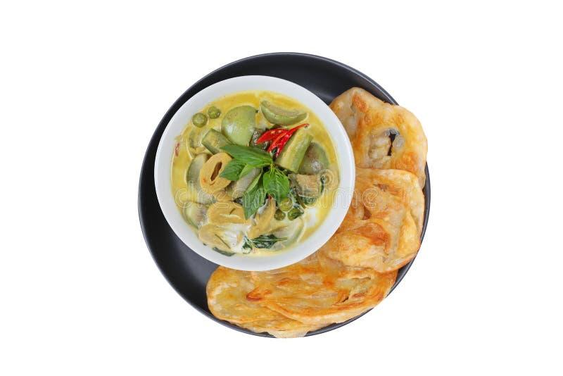 Ready è servito di Roti, alimento indiano come farina fritta nel grasso bollente, con Tha immagine stock libera da diritti
